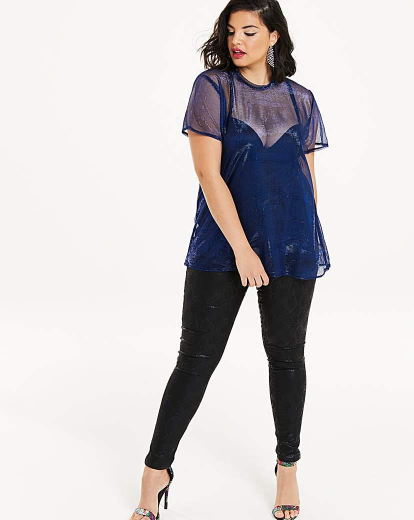 Simply Be Blue Metallic Mesh T-shirt
