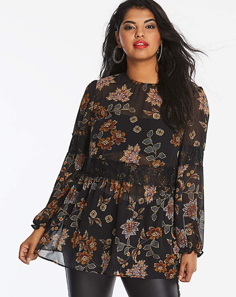 Simply Be Black Floral High Neck Lace Waist Blouse