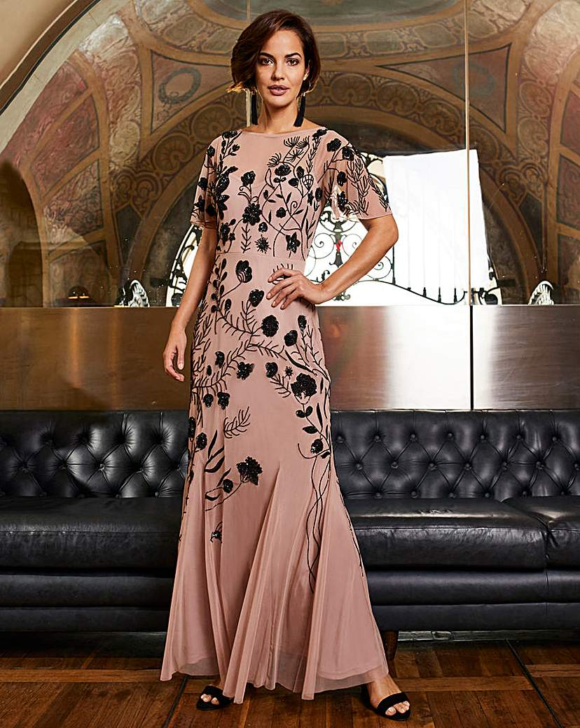 Plus Size Vintage Dresses, Plus Size Retro Dresses Joanna Hope Beaded Maxi Dress £165.00 AT vintagedancer.com