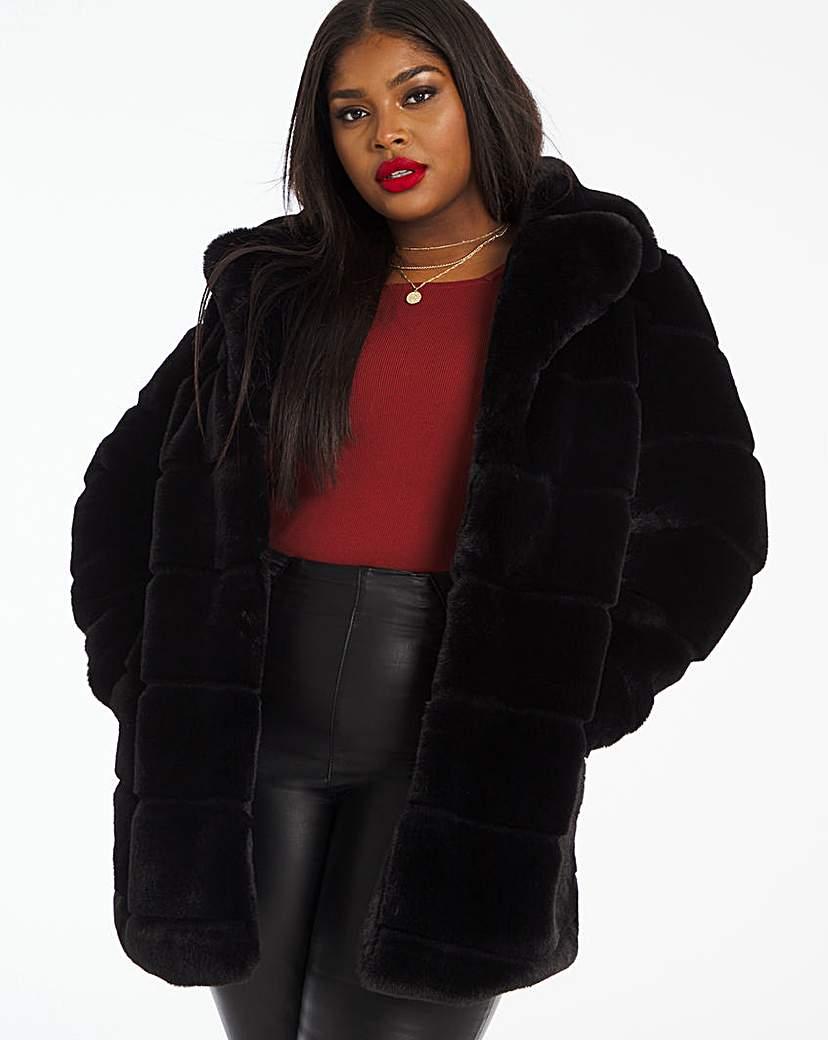 Capsule Black Stepped Faux Fur Coat