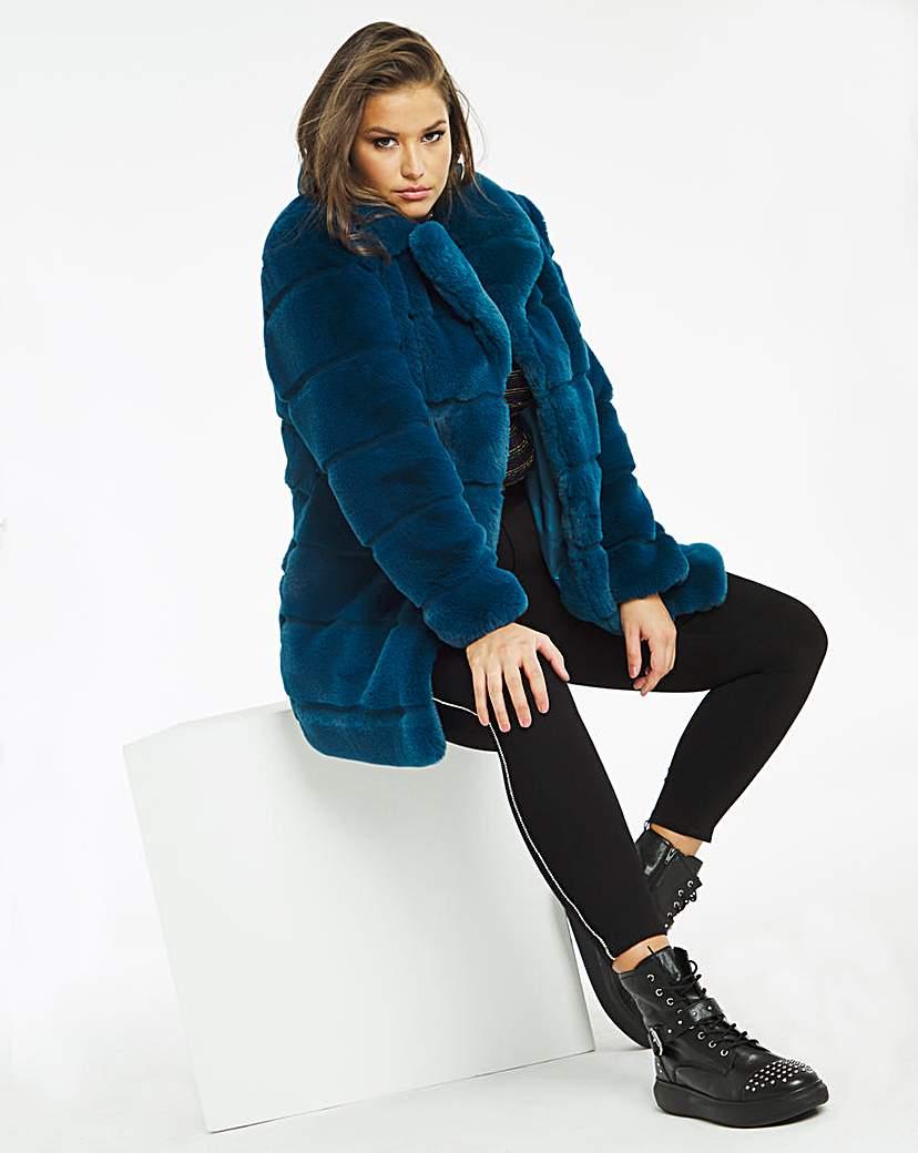 JD Williams Stepped Faux Fur Coat