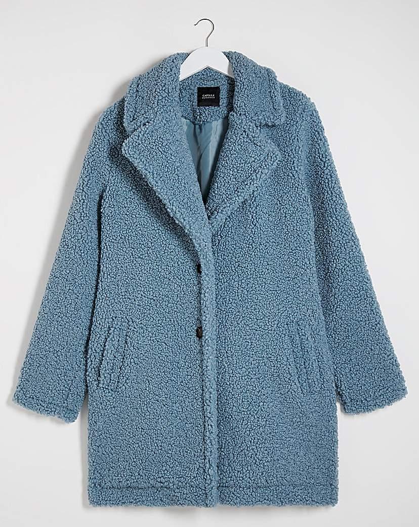 Capsule Dusky Blue Faux Fur Teddy Coat