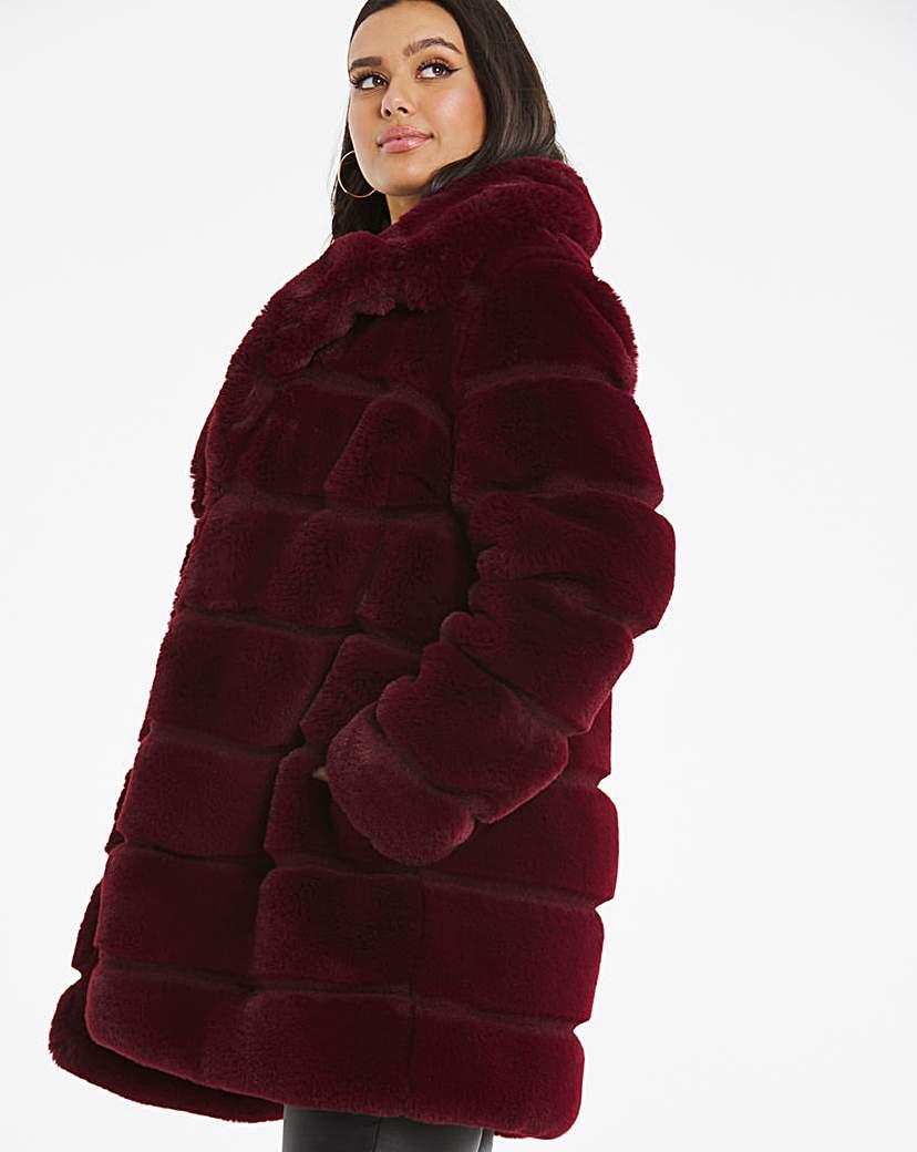 Capsule Burgundy Stepped Faux Fur Coat