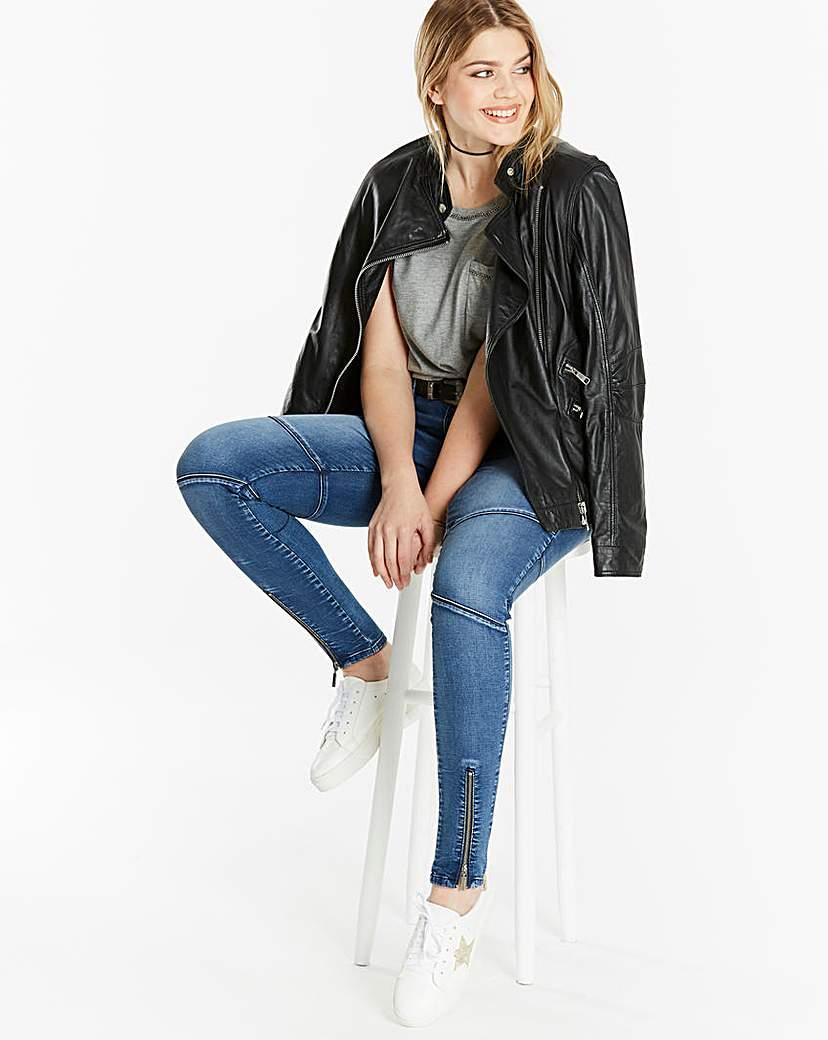 Simply Be Chloe Biker Skinny Jeans Reg