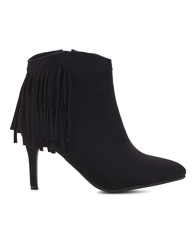 Simply Be Dahlia Fringed Ankle Boot Wide Fit