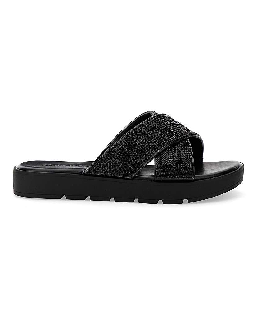 Simply Be Dayton Diamante Sandals Wide Fit