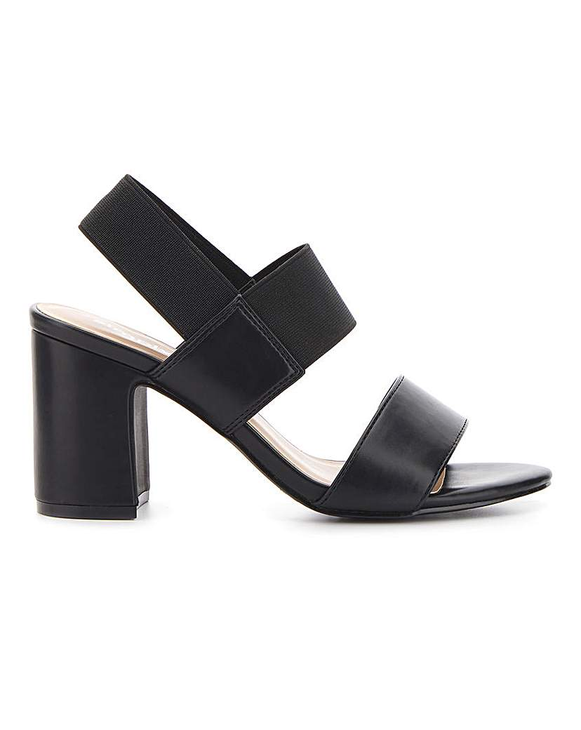 Simply Be Rome Elastic Block Heels Extra Wide Fit