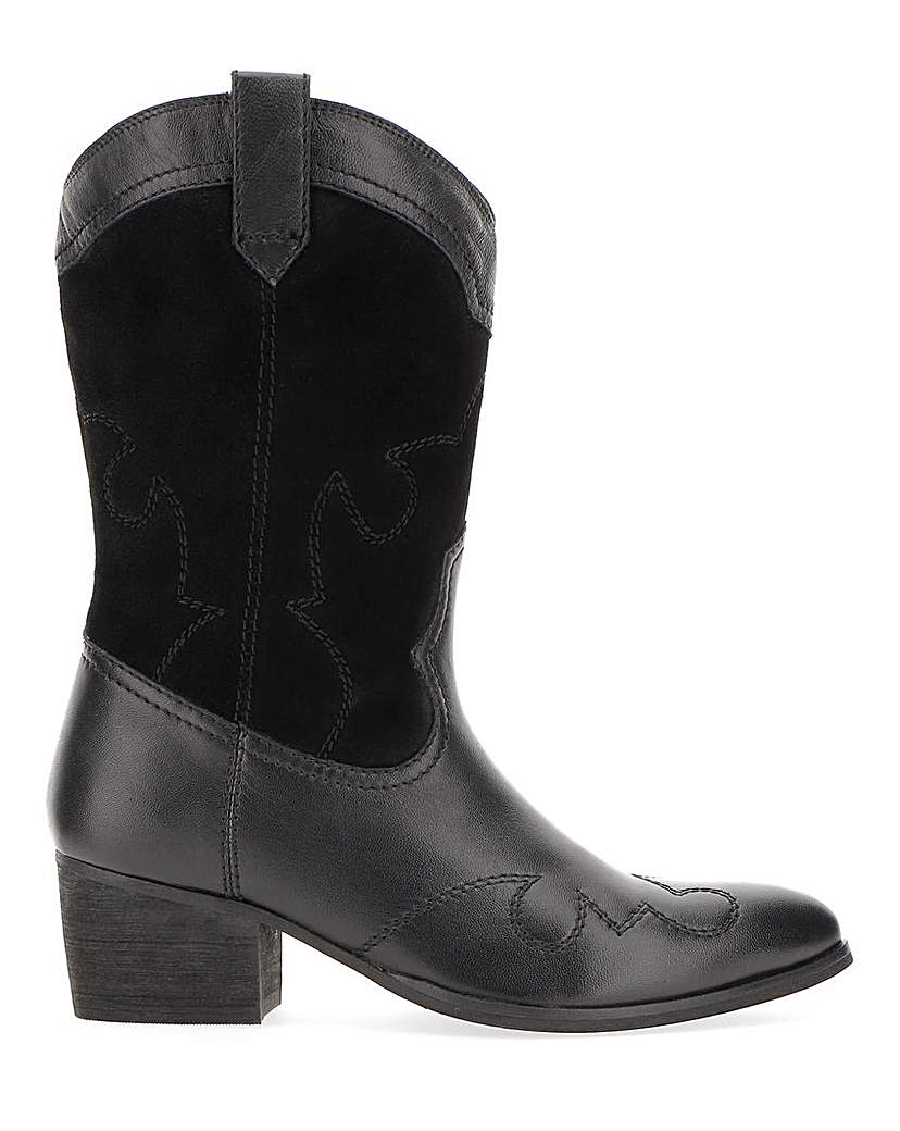 Simply Be Azalea Leather Western Boots Extra Wide