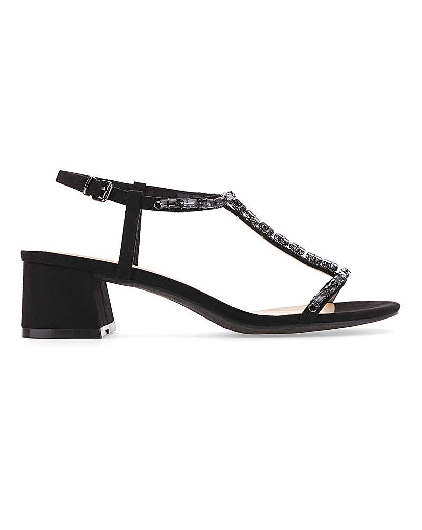 Simply Be Chicago T-Bar Block Heels Extra Wide Fit