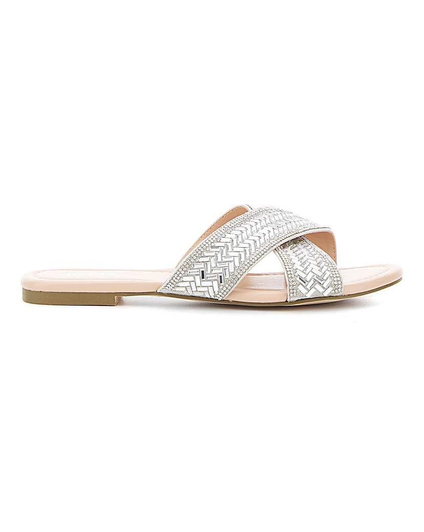 Simply Be Venice Diamante Flat Sandal Wide Fit
