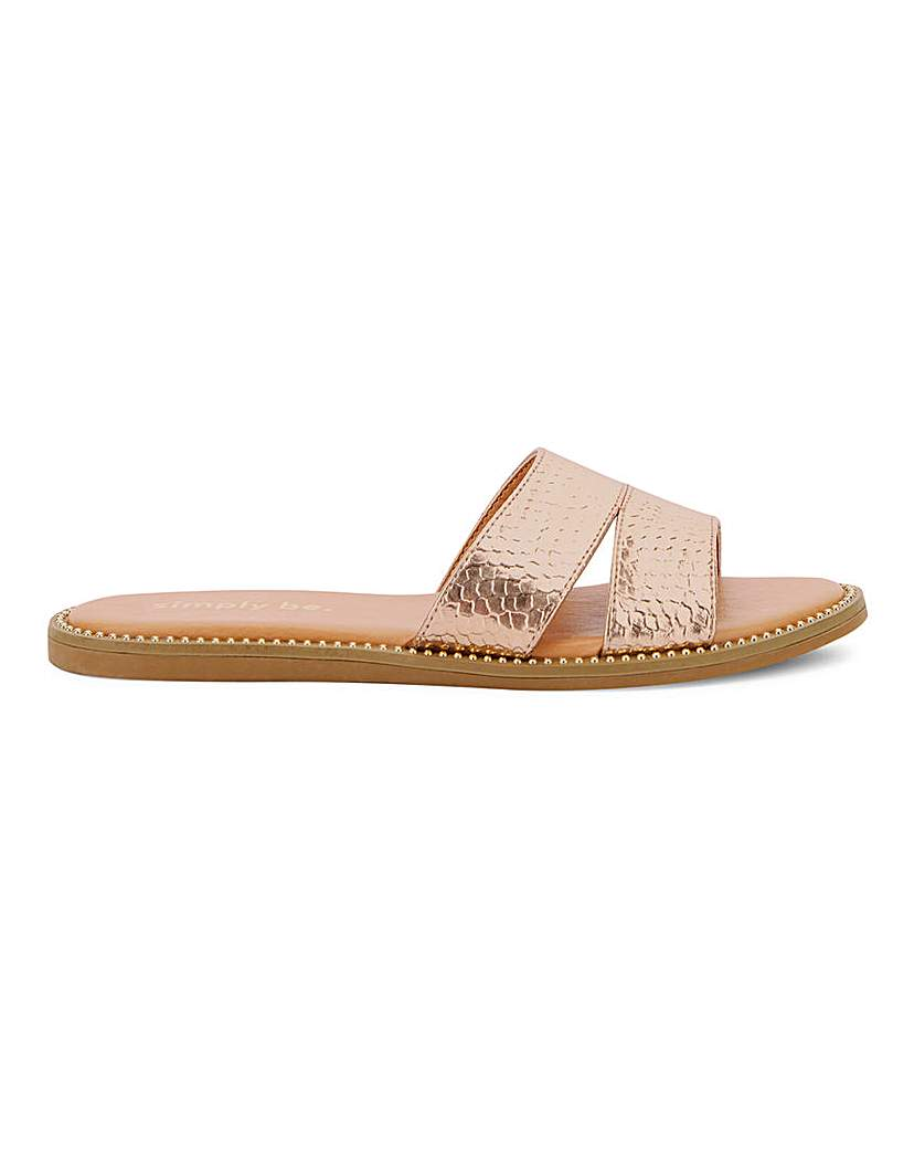 Simply Be Nevada Mule Flat Sandal Extra Wide Fit