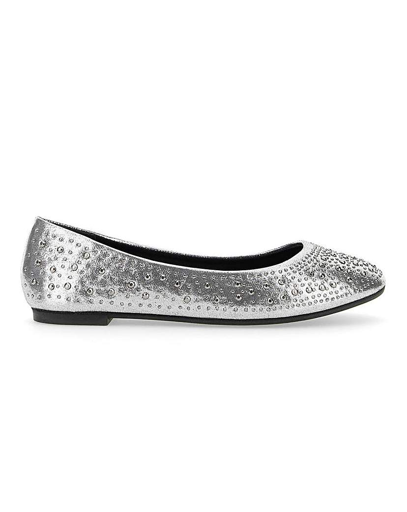 Simply Be Brandy Studded Ballerina Ex Wide fit