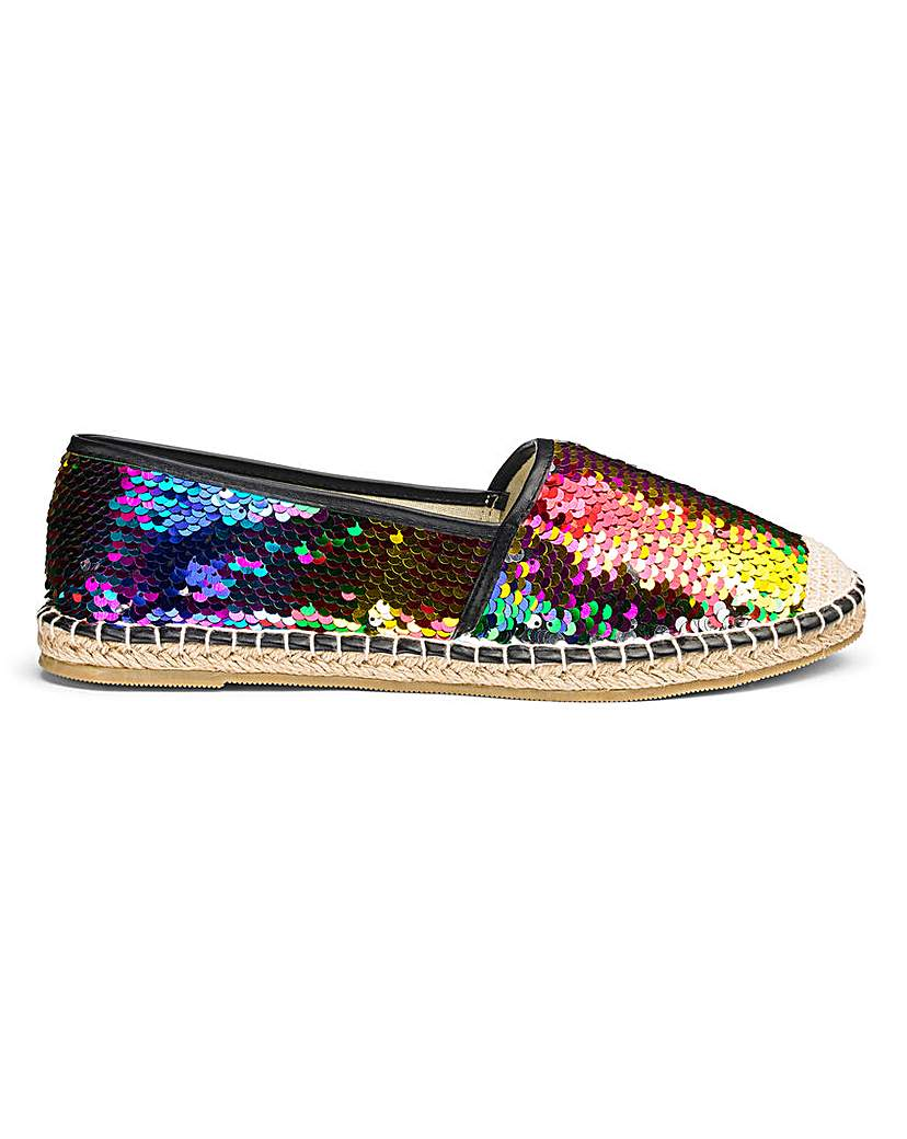 Simply Be Polly Sequin Espadrille Extra Wide Fit