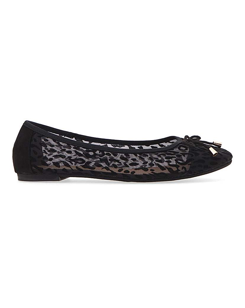 Simply Be Dione Leopard Mesh Ballerina Extra Wide