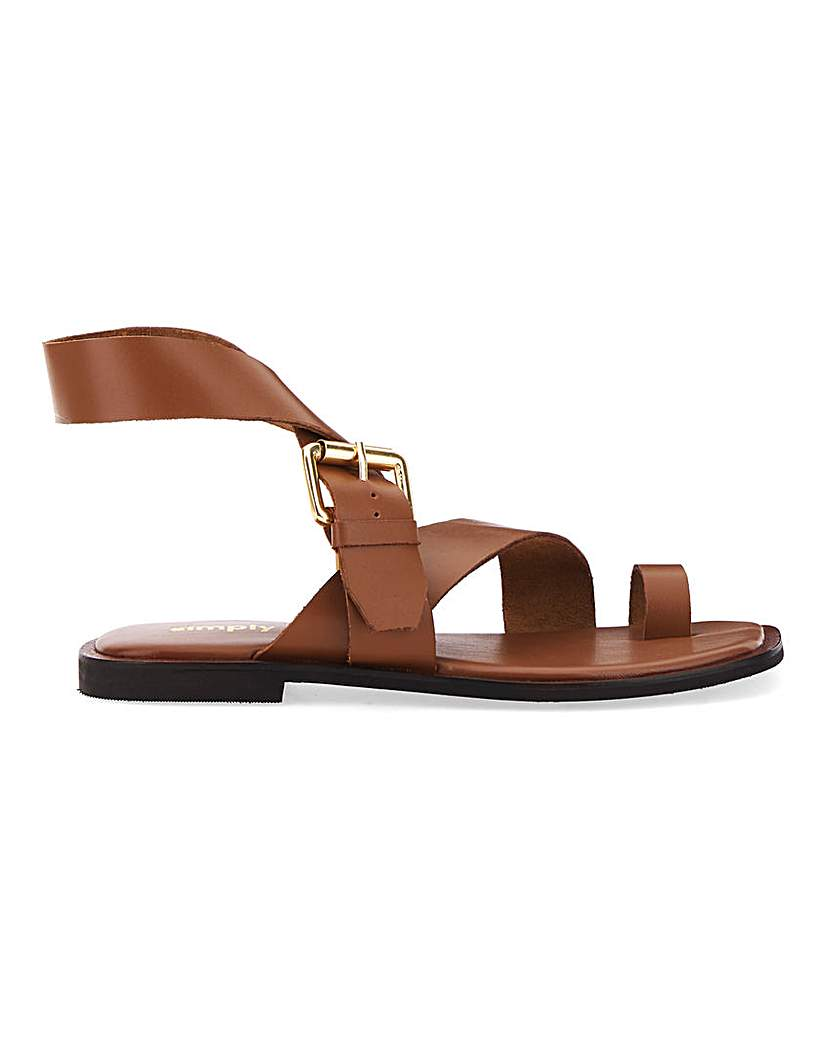 Simply Be Ohio Toe Loop Leather Sandal Extra Wide