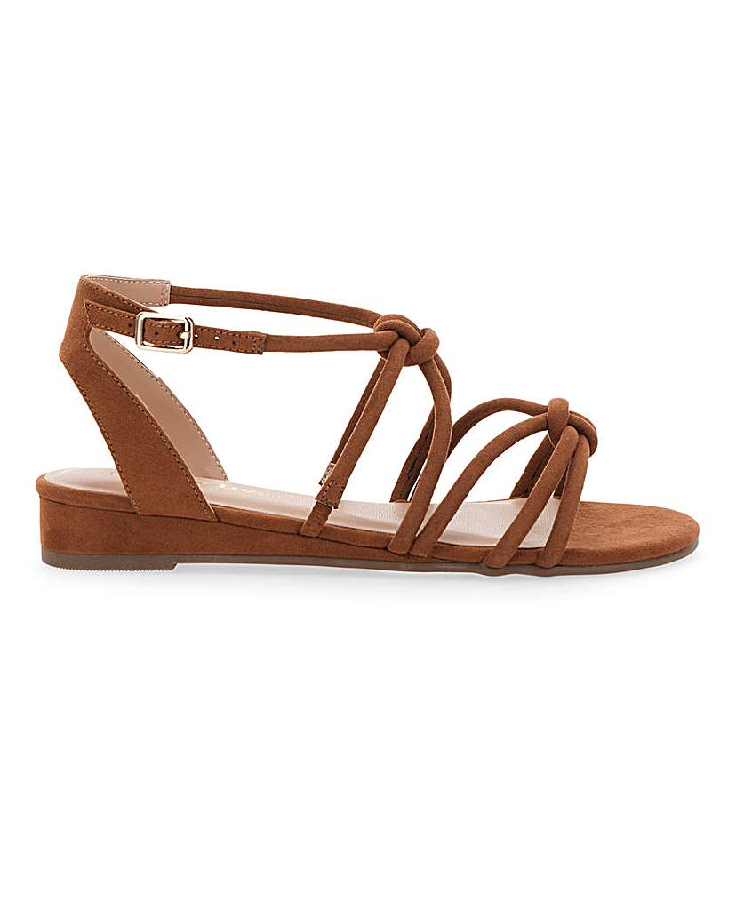 Simply Be Dassia Strappy Wedge Wide Fit
