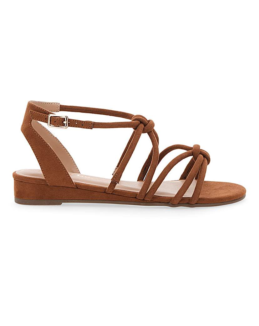 Simply Be Dassia Strappy Wedge Extra Wide Fit