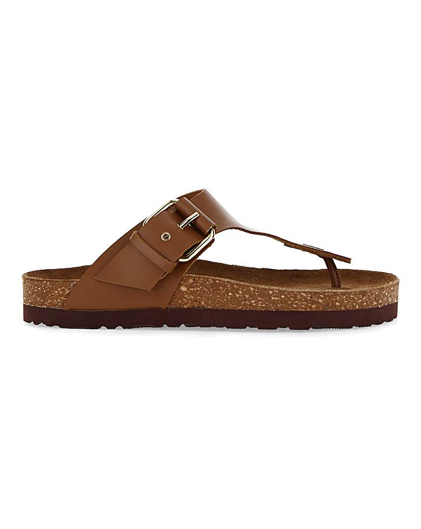 Simply Be Corfu Leather Footbed Toepost Wide Fit