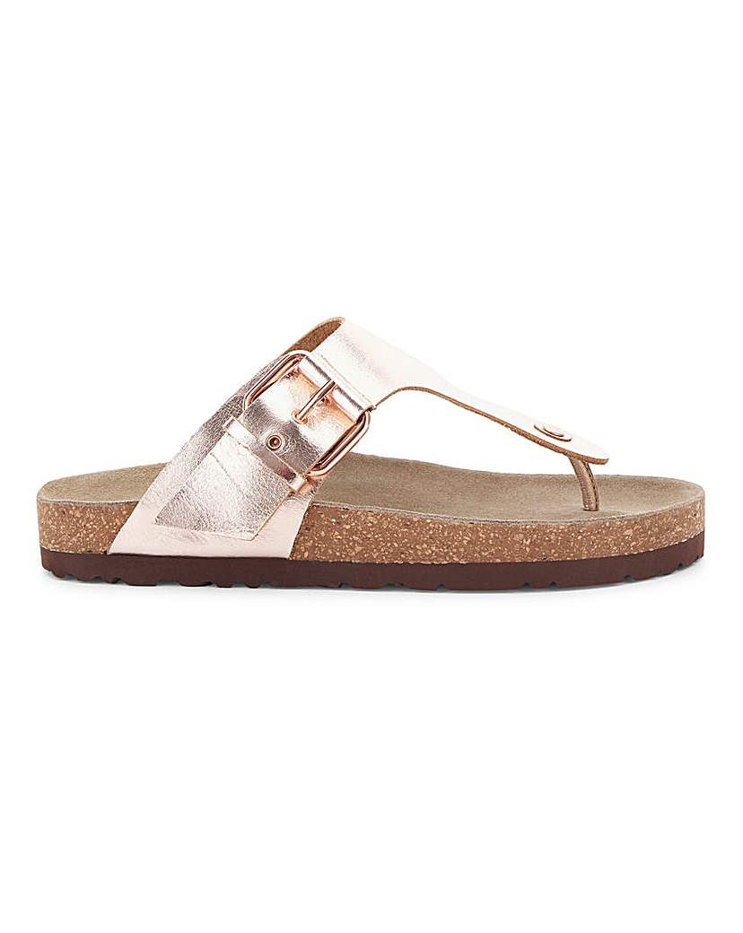 Simply Be Corfu Leather Footbed Toepost Extra Wide
