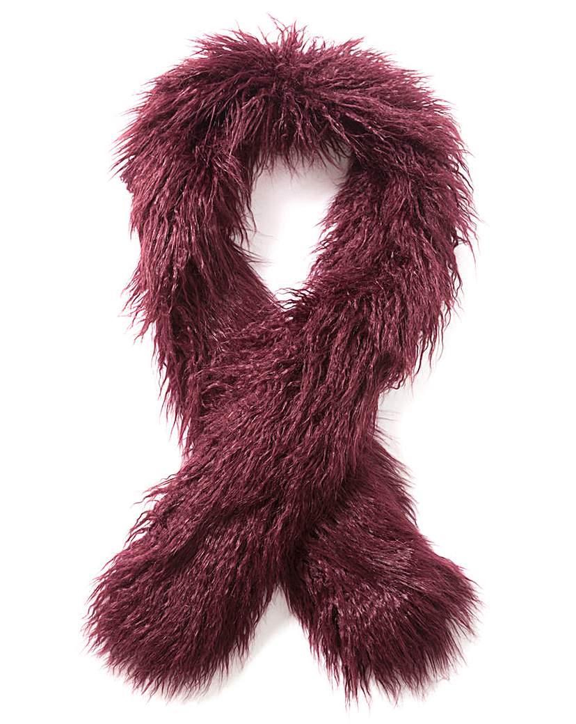 Simply Be Burgundy Mongolian Faux Fur Stole
