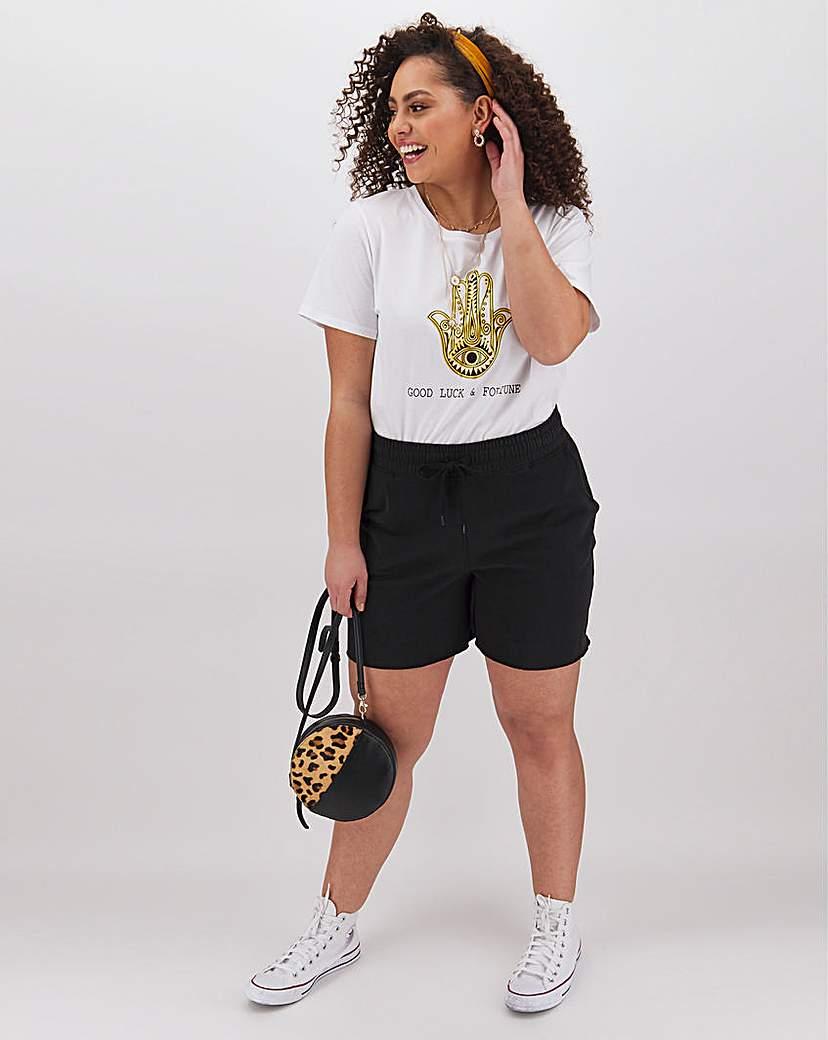 Capsule Leisure Black Cotton Jog Shorts