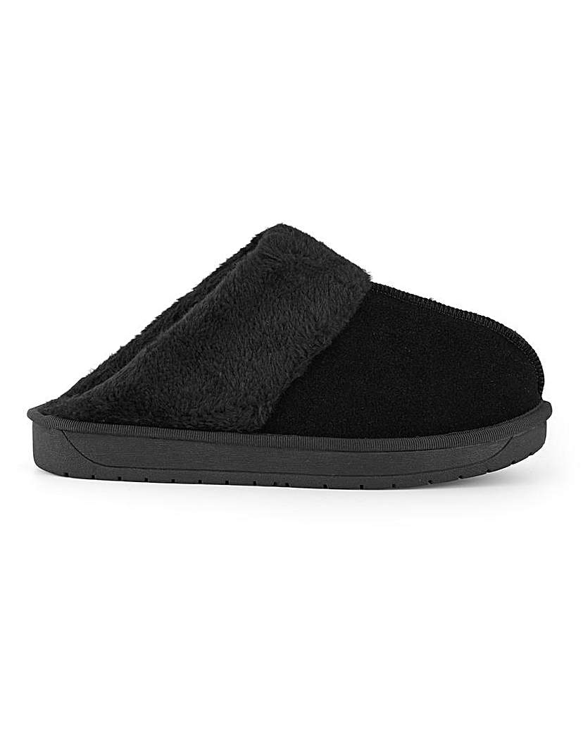 Simply Be Aubree Suede Slippers Wide Fit