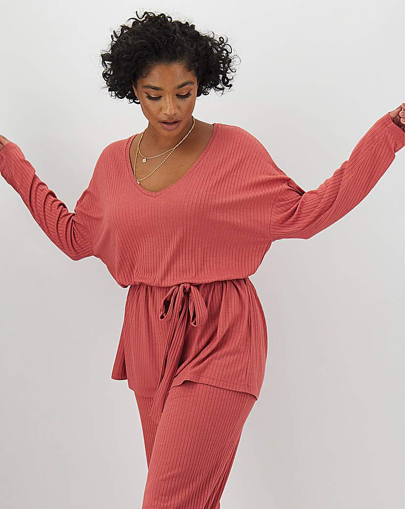 Simply Be Pink Super Soft Ribbed Tie Waist Tunic