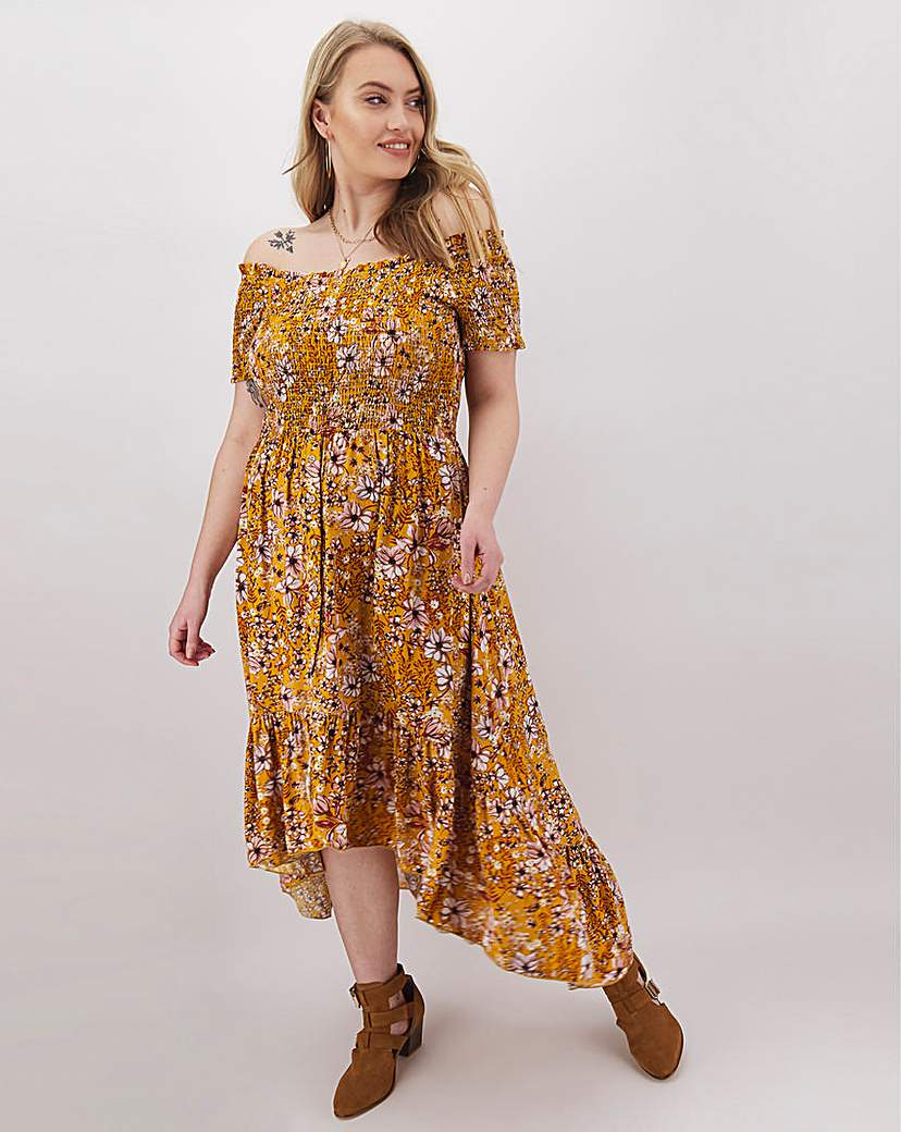 Apricot Apricot High Low Hem Bardot Dress