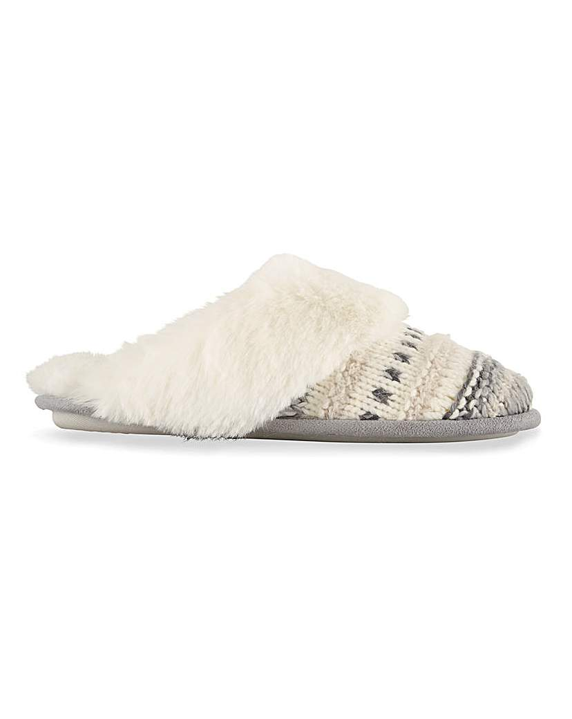 Simply Be Lisa Knitted Mule Slippers Wide Fit