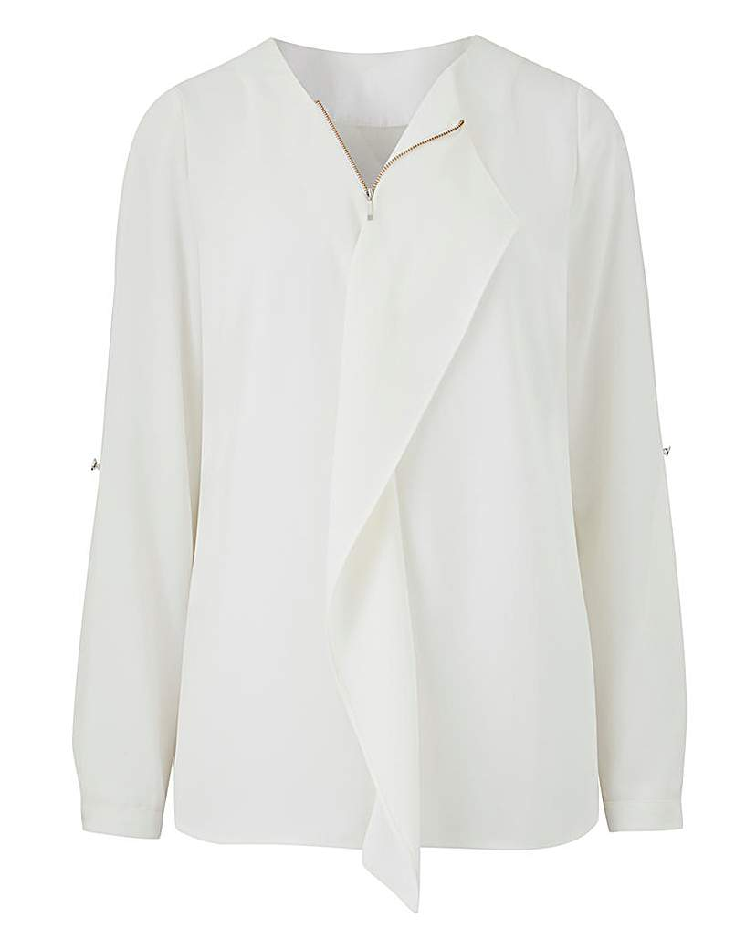 Simply Be Waterfall Front Zip Blouse