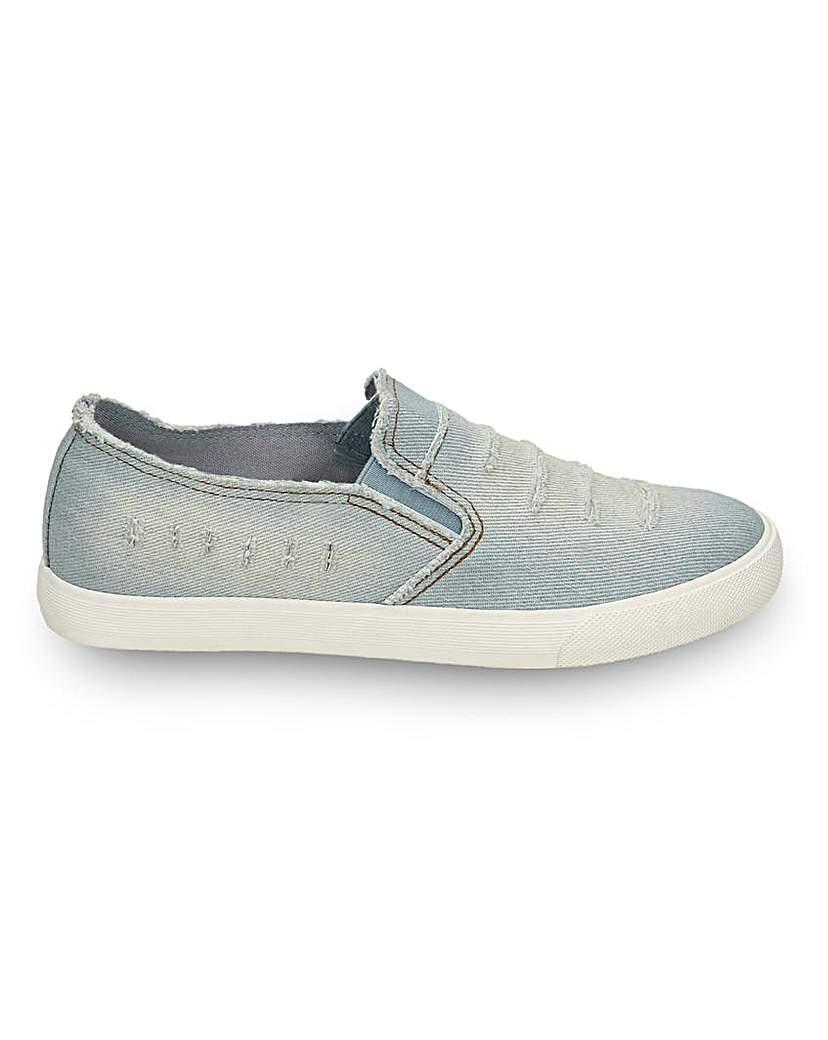 Simply Be Ari Denim Slip On Shoes Standard Fit