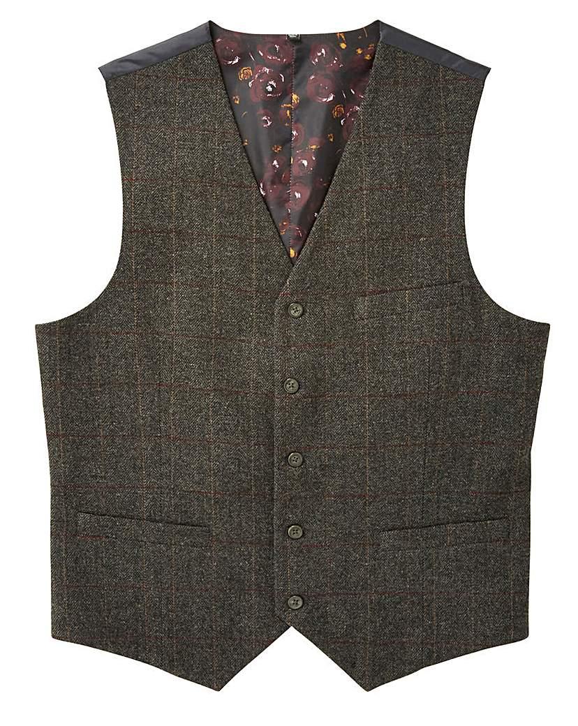 Men's Vintage Inspired Vests Black Label Herringbone Waistcoat Long £36.00 AT vintagedancer.com
