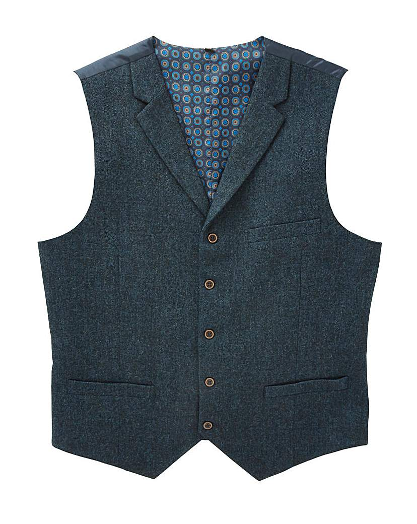 1920s Style Mens Vests Black Label Tweed Waistcoat Long £36.00 AT vintagedancer.com
