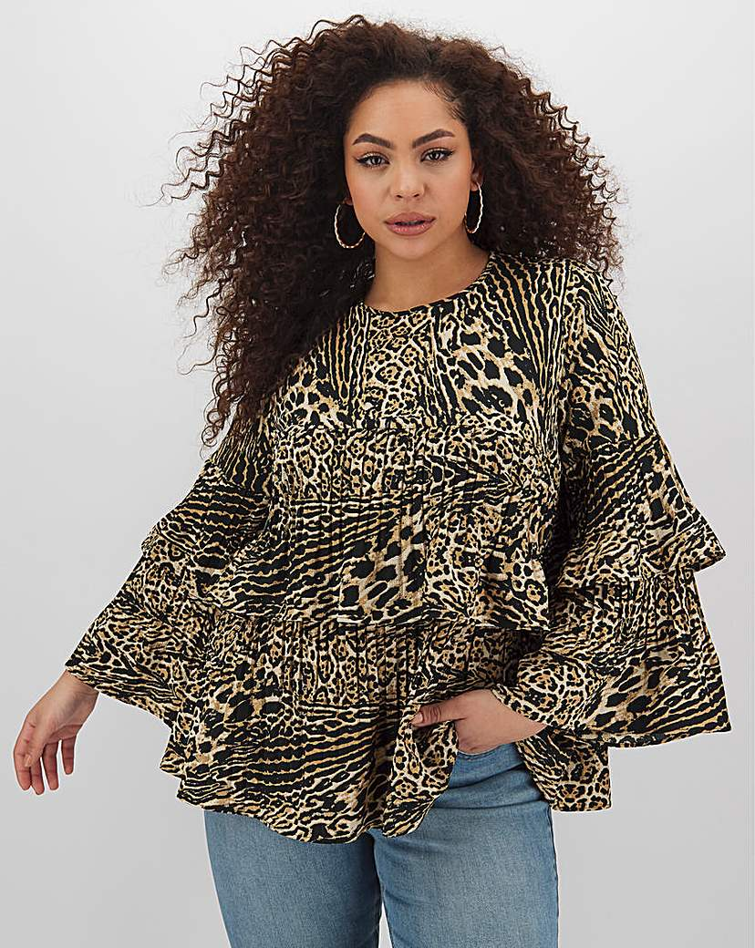 Simply Be Leopard Fluted Sleeve Pleat Layer Top