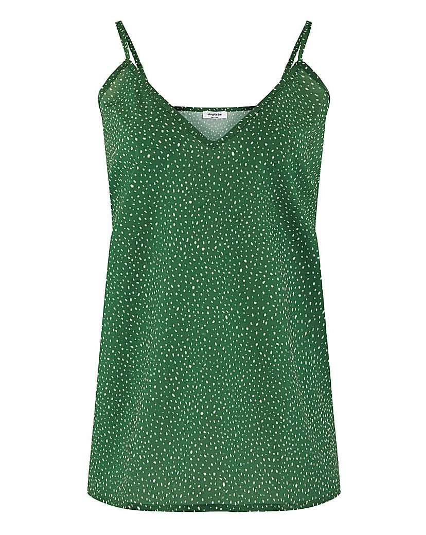 Simply Be Green Spot V Neck Cami