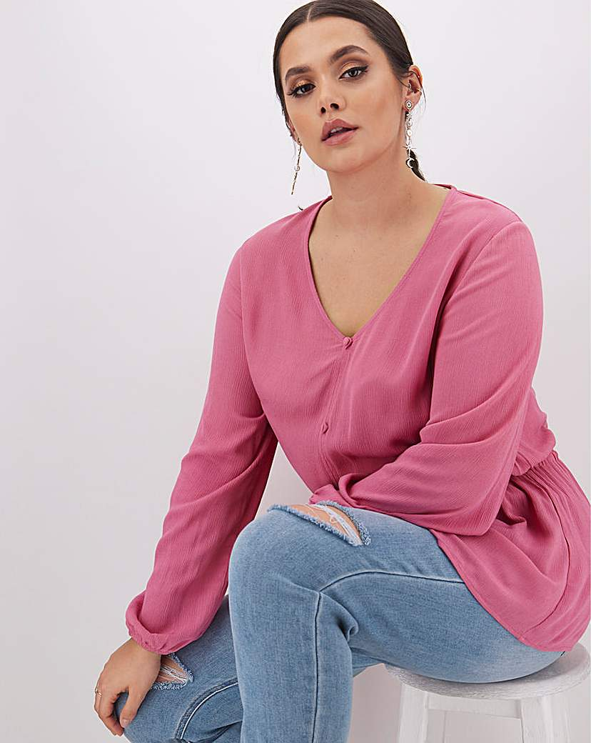 Simply Be Pink Button Crinkle Peplum Blouse