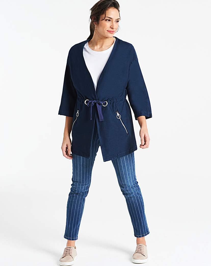 Jersey Denim Kimono Jacket