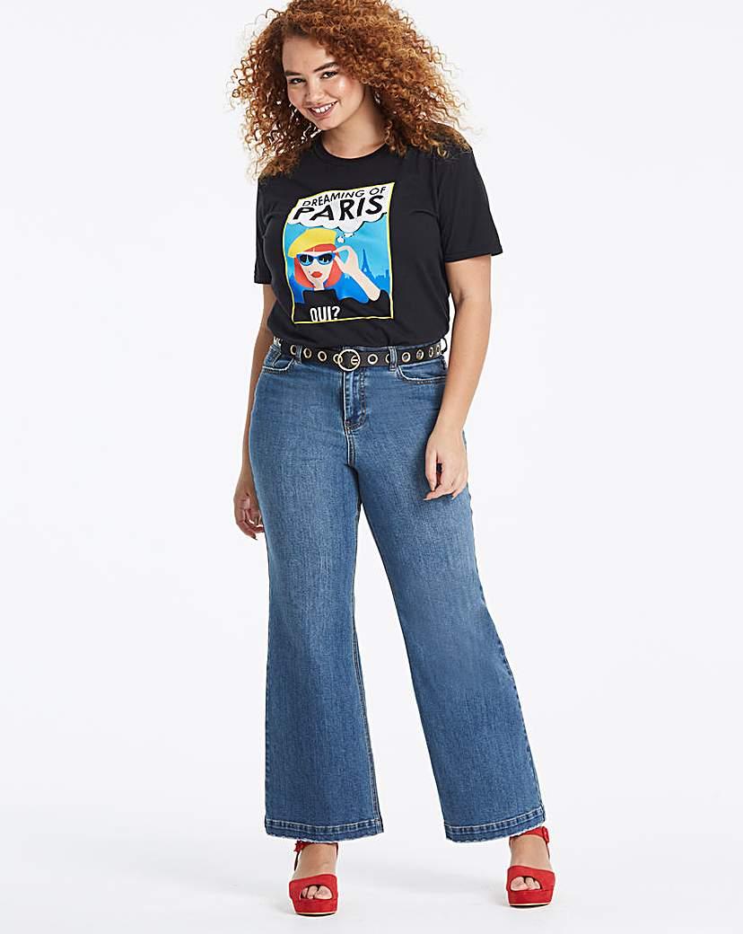 Simply Be Blue Joss High Waist Wide Leg Jeans