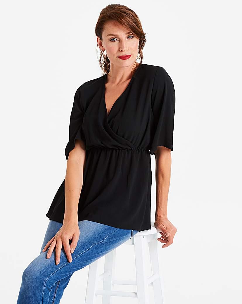 Black Kimono Wrap Blouse