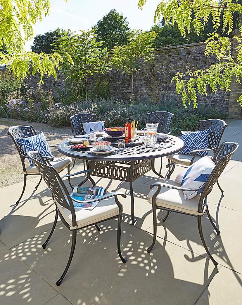 Image of Kingston 6 Seat Dining Set & Lazy Susan