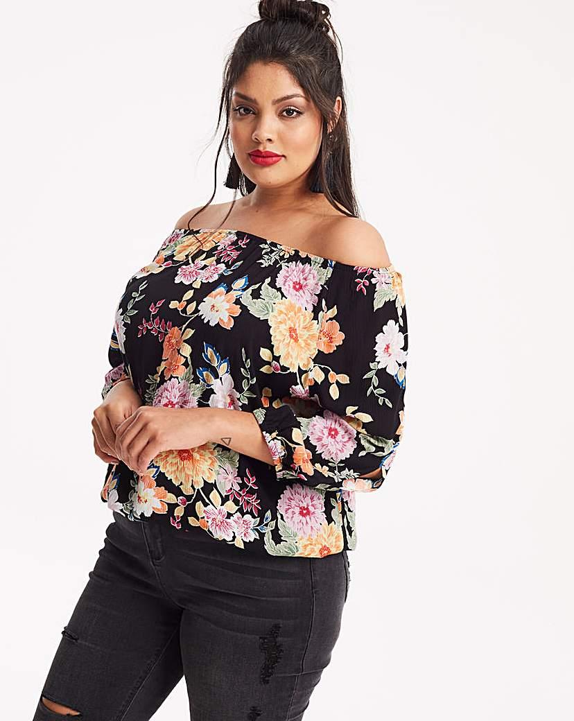 Capsule Black Floral Split Sleeve Crinkle Blouse