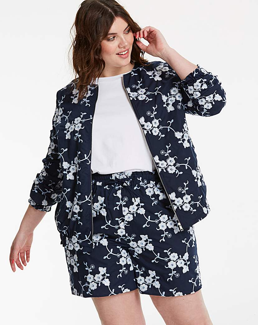 Simply Be Collarless Applique Jacket