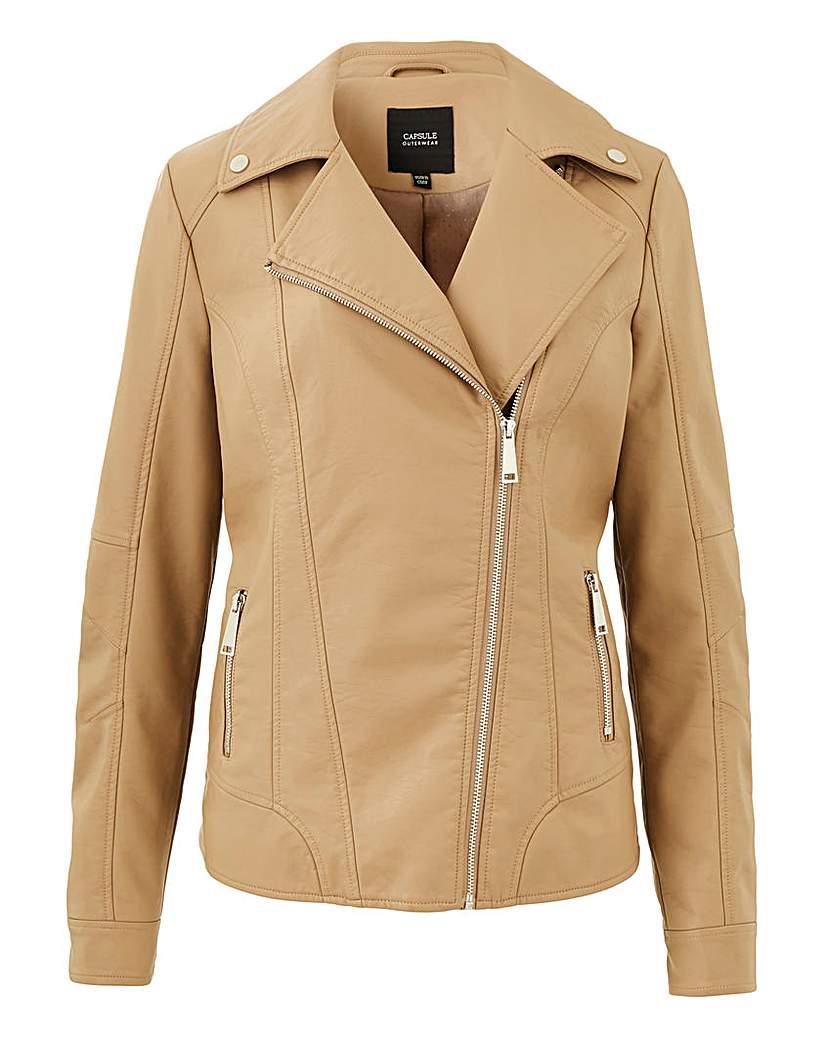 Image of Camel Faux Leather Biker Jacket