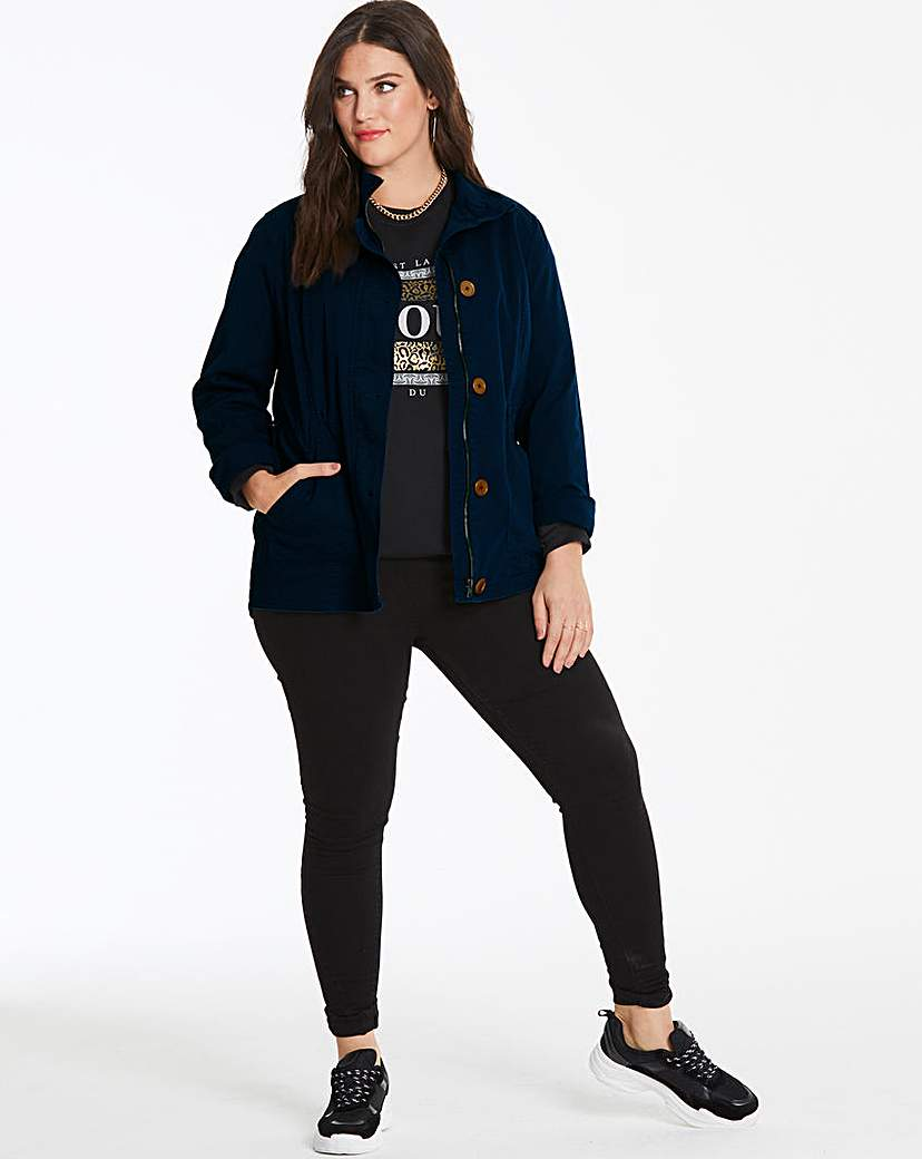 Capsule Navy Stretch Cotton Utility Jacket