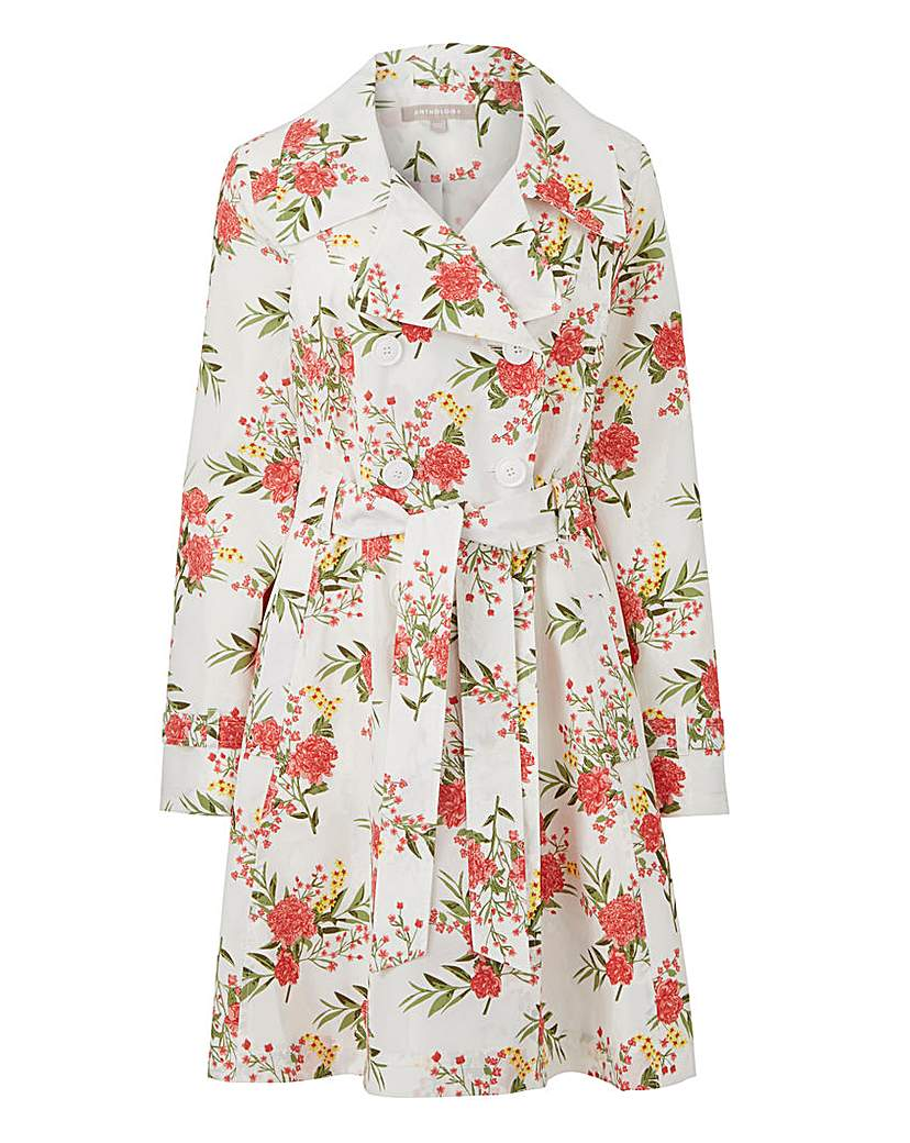 Simply Be Printed Fit and Flare Trench Coat