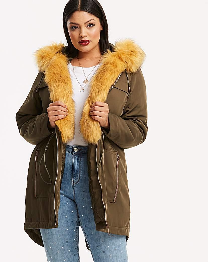 Simply Be Khaki Parka With Detachable Faux Fur