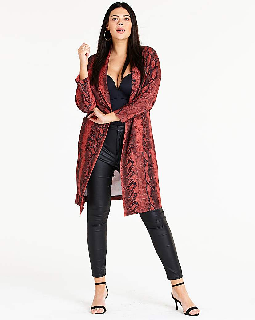 Simply Be Snake Print Duster Coat