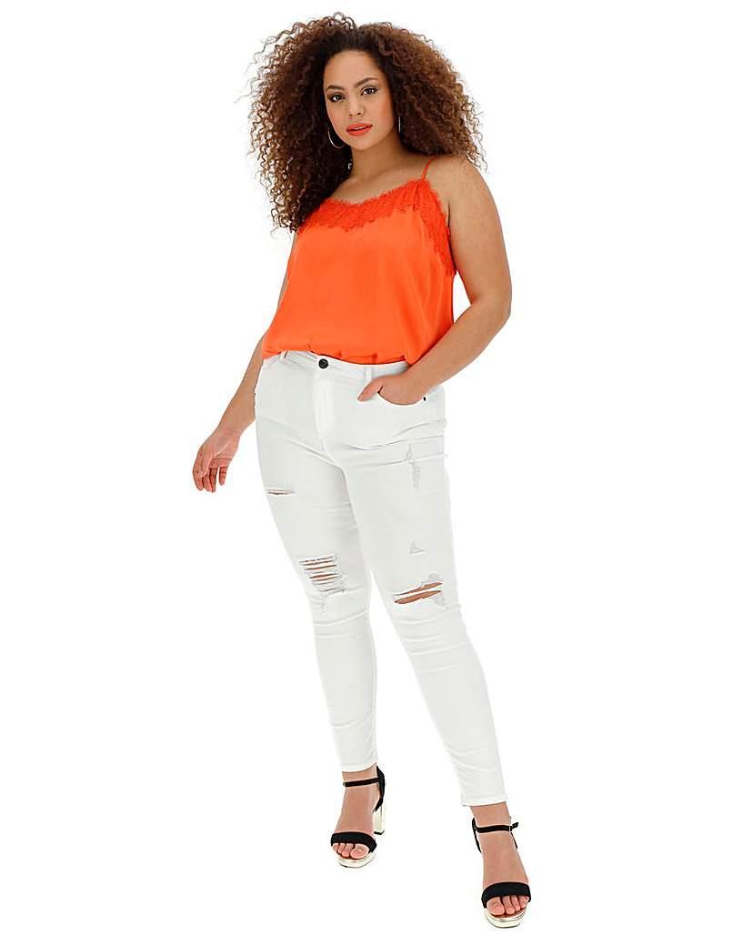 Simply Be White Chloe Rip High Waist Skinny Jeans