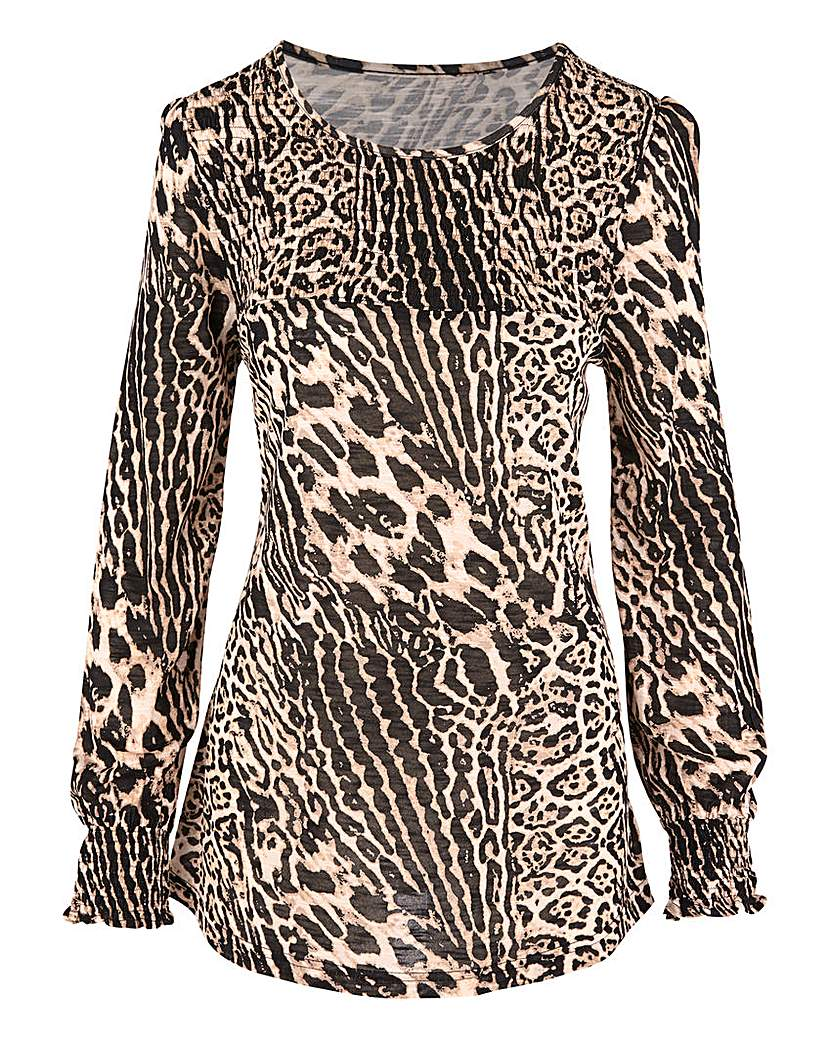 Capsule Leopard Long Sleeve Shirred Neck Top