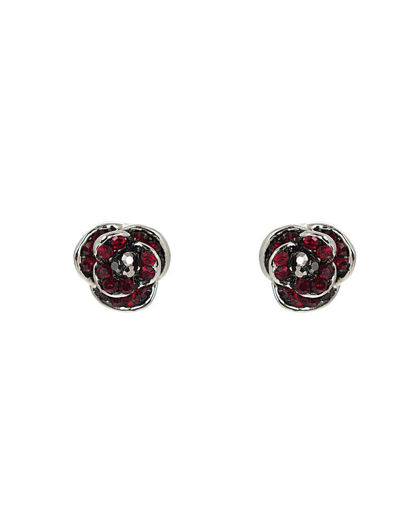 Rhodium plated crystal Poppy earrings